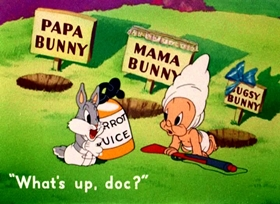 Screenshots from the 1944 Warner Brothers cartoon The Old Grey Hare