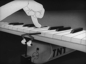 Screenshots from the 1944 Warner Brothers cartoon Booby Traps