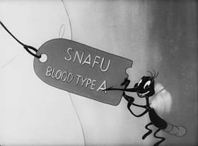Screenshots from the 1944 Warner Bros. cartoon Private Snafu vs. Malaria Mike