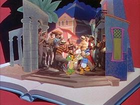 Screenshots from the 1945 Disney cartoon The Three Caballeros