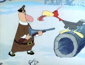 Screenshots from the 1945 MGM cartoon Jerky Turkey