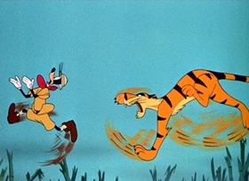 Screenshots from the 1945 Disney cartoon Tiger Trouble