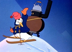 Screenshots from the 1945 Disney cartoon The Cold Blooded Penguin