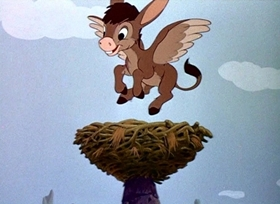 Screenshots from the 1945 Disney cartoon The Flying Gauchito