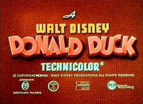 Screenshots from the 1945 Disney cartoon Donald