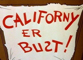 Screenshots from the 1945 Disney cartoon Californy