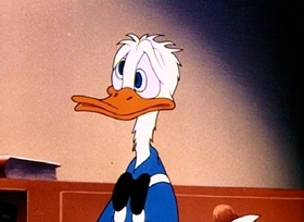 Screenshots from the 1945 Disney cartoon Duck Pimples