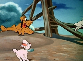 Screenshots from the 1945 Disney cartoon The Legend of Coyote Rock