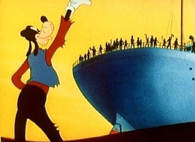 Screenshots from the 1945 Disney cartoon No Sail