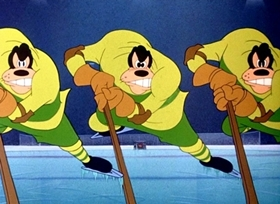 Screenshots from the 1945 Disney cartoon Hockey Homicide