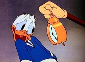 Screenshots from the 1945 Disney cartoon Cured Duck