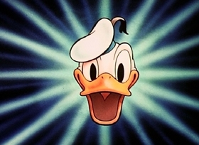 Screenshots from the 1945 Disney cartoon Cured Duck