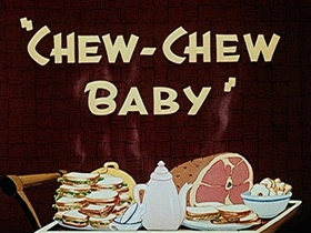 Screenshots from the 1945 Walter Lantz cartoon Chew-Chew Baby