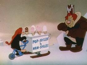 Screenshots from the 1945 Walter Lantz cartoon The Sliphorn King of Polaroo