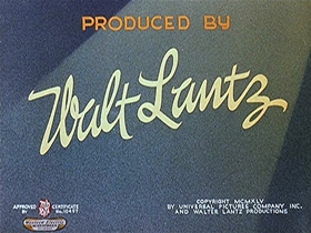 Screenshots from the 1945 Walter Lantz cartoon Woody Dines Out