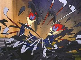 Screenshots from the 1945 Walter Lantz cartoon The Loose Nut