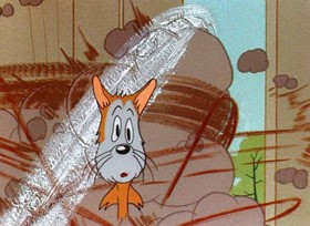 Screenshots from the 1945 Warner Brothers cartoon Odor-able Kitty