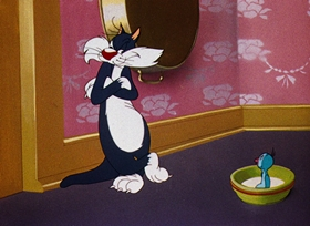 Screenshots from the 1945 Warner Brothers cartoon Life With Feathers