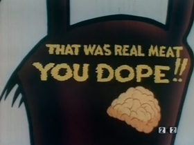 Screenshots from the 1945 Warner Brothers cartoon Behind the Meat-Ball