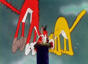 Screenshots from the 1945 Warner Brothers cartoon A Gruesome Twosome