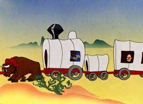 Screenshots from the 1945 Warner Brothers cartoon Wagon Heels