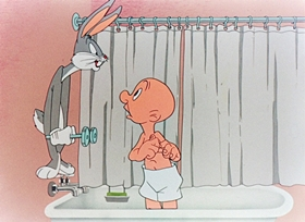 Screenshots from the 1945 Warner Bros. cartoon Hare Tonic