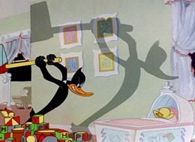 Screenshots from the 1945 Warner Brothers cartoon Nasty Quacks