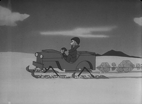 Screenshots from the 1945 Warner Brothers cartoon In the Aleutians