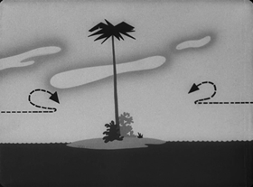Screenshots from the 1945 Warner Brothers cartoon No Buddy Atoll