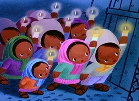 Screenshots from the 1945 Disney cartoon Los Posadas