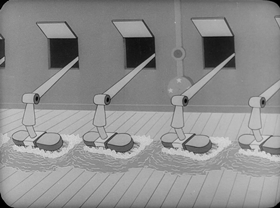 Screenshots from the 1946 Harman-Ising Studio cartoon Seaman Tarfu in the Navy