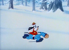 Screenshots from the 1946 MGM cartoon Northwest Hounded Police