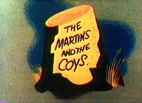 Screenshots from the 1946 Disney cartoon The Martins and the Coys