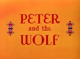 Screenshots from the 1946 Disney cartoon Peter and the Wolf