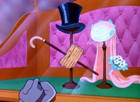 Screenshots from the 1946 Disney cartoon Johnny Fedora and Alice Blue Bonnet