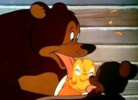 Screenshots from the 1946 Disney cartoon Dumbell of the Yukon