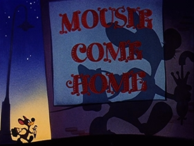 Screenshots from the 1946 Walter Lantz cartoon Mousie Come Home