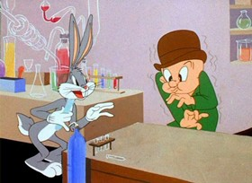 Screenshots from the 1946 Warner Brothers cartoon Hare Remover