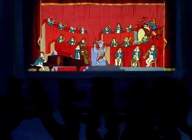 Screenshots from the 1946 Warner Brothers cartoon Hollywood Canine Canteen