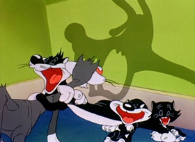 Screenshots from the 1946 Warner Brothers cartoon Kitty Kornered
