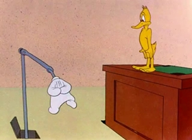 Screenshots from the 1946 Warner Brothers cartoon Hollywood Daffy