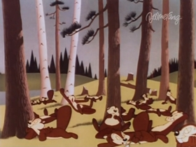 Screenshots from the 1946 Warner Brothers cartoon The Eager Beaver