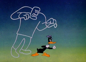 Screenshots from the 1946 Warner Brothers cartoon The Great Piggy Bank Robbery