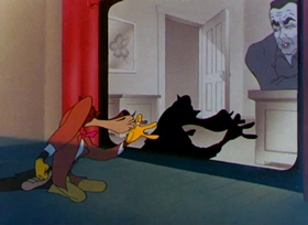 Screenshots from the 1946 Warner Brothers cartoon Bacall to Arms