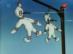 Screenshots from the 1946 Warner Brothers cartoon Of Thee I Sting