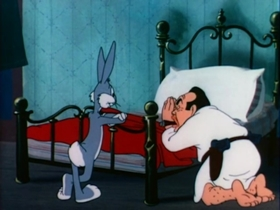 Screenshots from the 1946 Warner Brothers cartoon Racketeer Rabbit