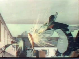 Screenshots from the 1946 Warner Brothers cartoon The Mouse-Merized Cat