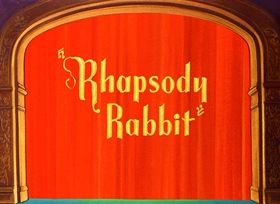 Screenshots from the 1946 Warner Brothers cartoon Rhapsody Rabbit