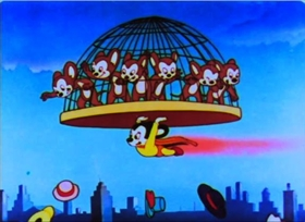 Screenshots from the 1947 Terrytoons cartoon The Dead End Cats