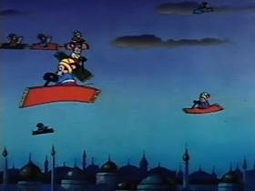 Screenshots from the 1947 Terrytoons cartoon Aladdin